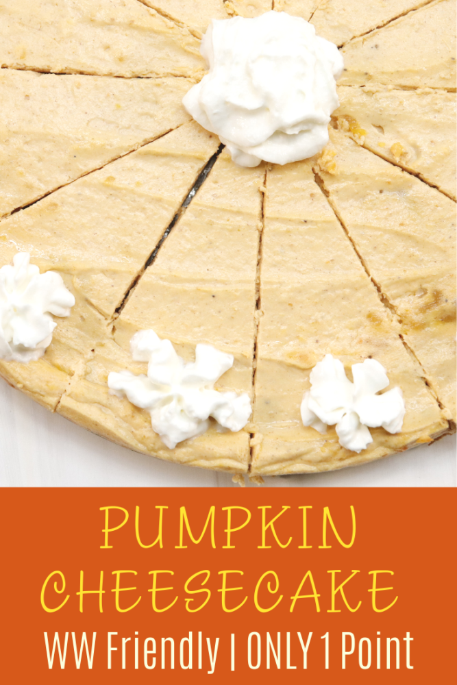 This is the PERFECT fall dessert, but I happen to love it year round! This pumpkin cheesecake is so yummy and if you are on the WW Freestyle Plan, ONLY 1 Smartpoint!!