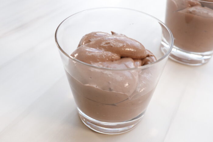 individual glass cup of Chocolate mousse