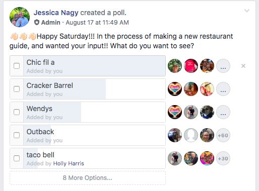 Chic Fil A poll from FB group